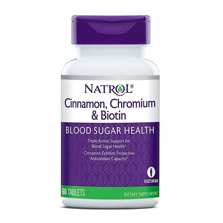 Natrol. Cinnamon. Chromium & Biotin - 60 таб