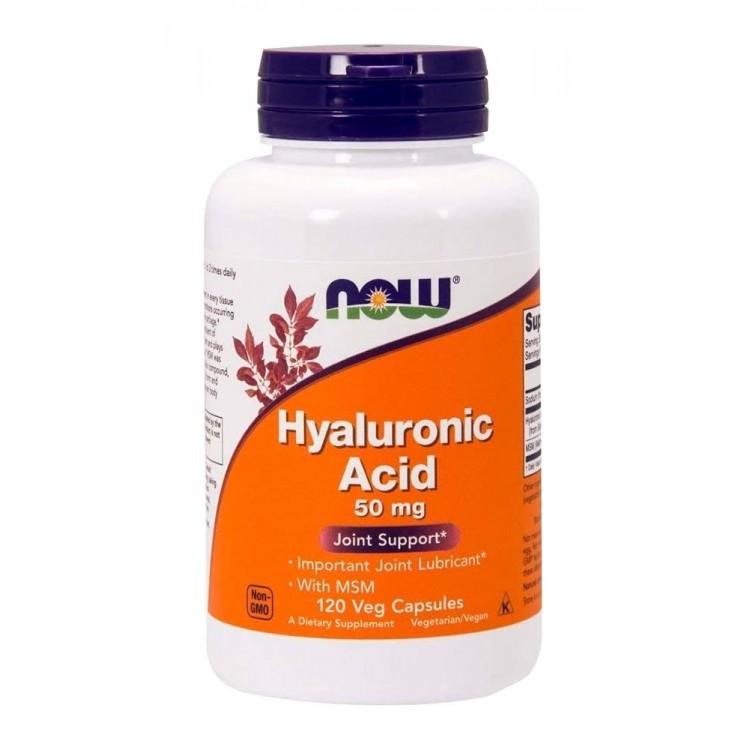 NOW. Hyaluronic Acid 50 мг + MSM - 120 капс